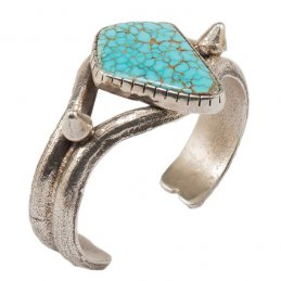 Carol Krena Sterling Silver Tufa Cast Cuff with Number 8 Turquoise Cabochon