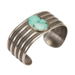 Vintage Navajo Ingot Silver Ribbed Cuff with Natural Turquoise Cabochon