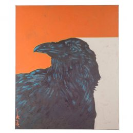 "Nocona Burgess ""Storyteller Raven"" Acrylic Painting on Canvas, Comanche"