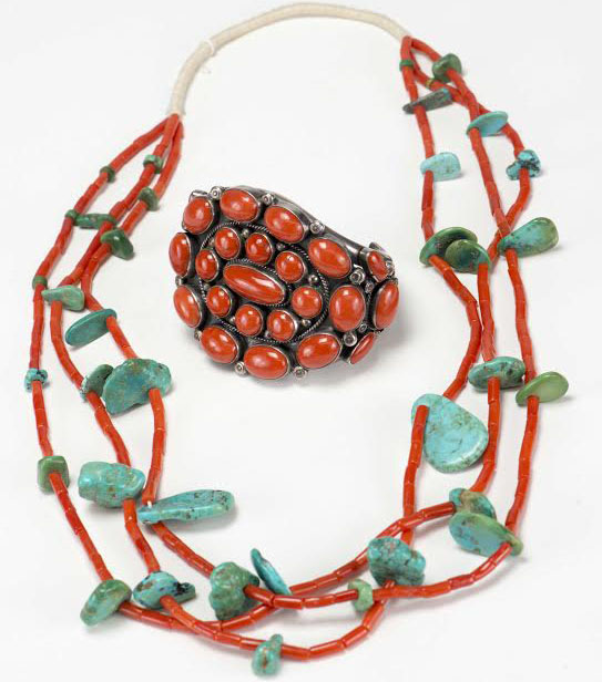 Mediterranean Coral and Turquoise Jewelry