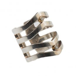Maria Samora Sterling Silver 'V' Strata Ring with Diamonds in 18k Gold Bezel