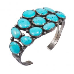 Vintage Navajo Silver Cluster Cuff with Natural Turquoise and Decorative Silver Work