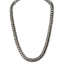 Steve Arviso Handcrafted Sterling Silver Link Chain Necklace with Oxidized Silver Detail