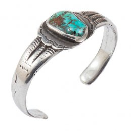 Vintage Navajo Ingot Silver Cuff with Single Natural Turquoise Setting and Unique Silver Work