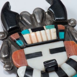 Vintage Zuni Leo Poblano Multi-Stone Horned Antelope Pin