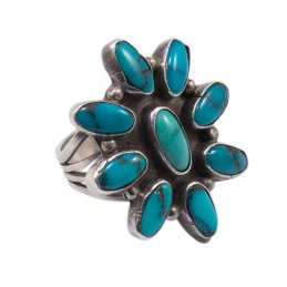 Vintage Navajo Silver Cluster Ring with Natural Turquoise Stones