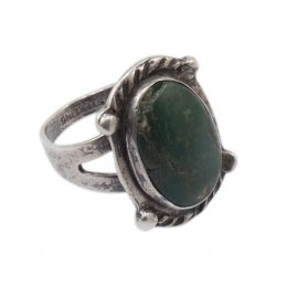 Vintage Navajo Sterling Silver Ring with Natural Turquoise Stone