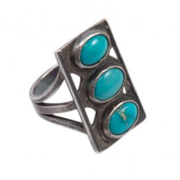 Vintage Navajo Sterling Silver and Natural Turquoise Ring