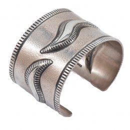 Edison Cummings Sterling Silver Wide Cuff with Wave Repousse