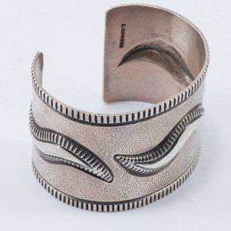Edison Cummings Sterling Silver Wide Cuff with Wave Repetitive Repousse