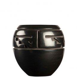 Margret Tafoya Carved Blackware Pot with Repetitive Design