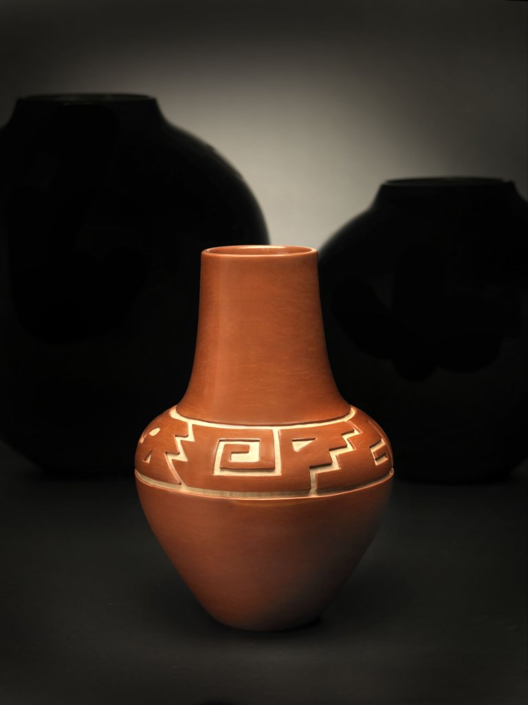 Margaret Tafoya Incised Red Clay Jar with Kiva Steps and Wind Symbol
