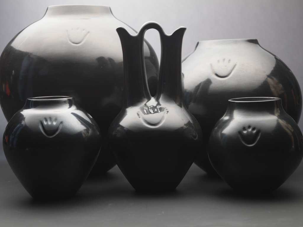 Collection of Margaret Tafoya Blackware Pottery with Bear Paw Symbol