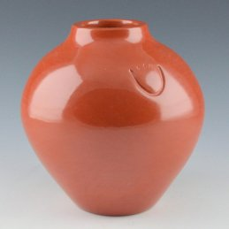 Jason Ebelacker Red Storage Jar with Bear Paw