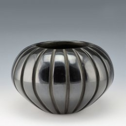 Mary Ester Archuleta Incised Blackware Melon Bowl