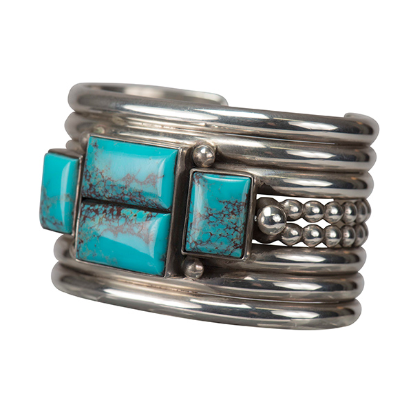 Mike Bird-Romero Silver Cuff with Turquoise