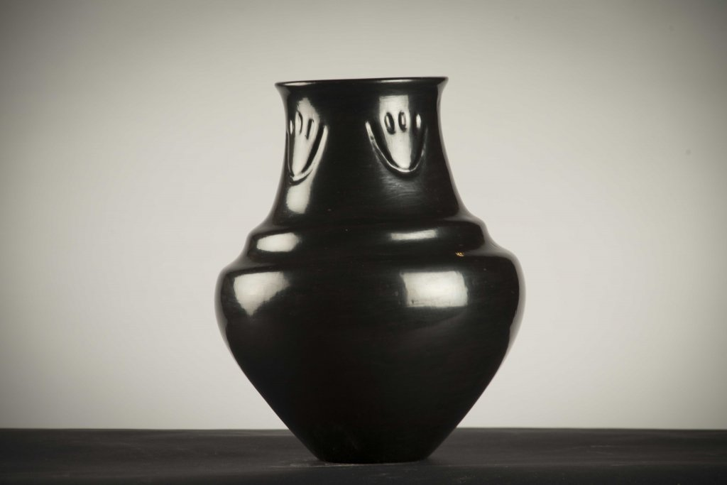 Margaret Tafoya Large Blackware Jar with Bear Paw Symbol