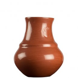 Margaret Tafoya Red Polished Small Storage Jar with Bear Paw Symbol