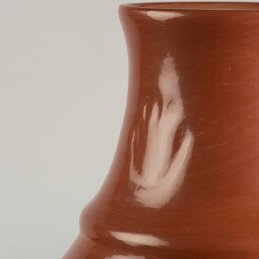 Margaret Tafoya Red Polished Storage Jar with Bear Paw Symbol