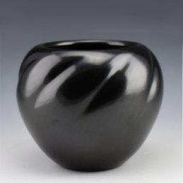 Toni Roller Blackware Melon Bowl, Santa Clara Pueblo