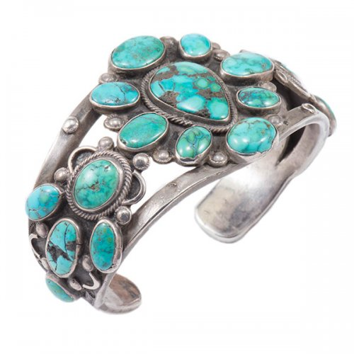 Vintage Navajo Heavy Weight Silver Cluster Cuff with Natural Turquoise Stones