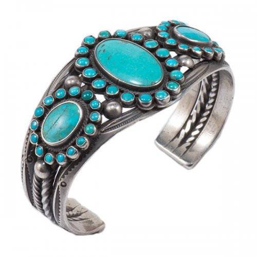 Vintage Navajo Silver Cluster Cuff with Natural Turquoise Stones