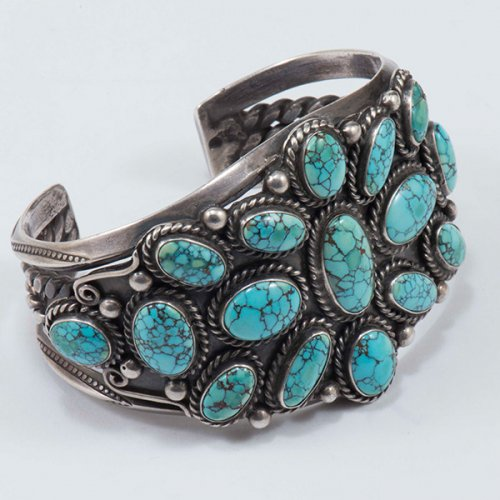 Vintage Navajo Wide Cluster Cuff with High-Grade Natural Turquoise Stones