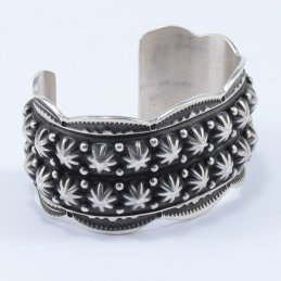 Bonecutter Sterling Silver Wide Cuff with Heavy Oxidation and Traditional Buttons