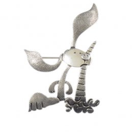 Darryl Jumbo Sterling Silver Rabbit with Carrot Pin with Detailed Silverwork