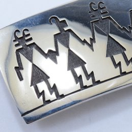 Hopi Sterling Silver Belt Buckle with Silver Overlay Figure Symbols