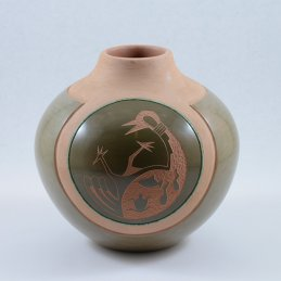 Russel Sanchez Carved and Painted Jar with Heishi Beads