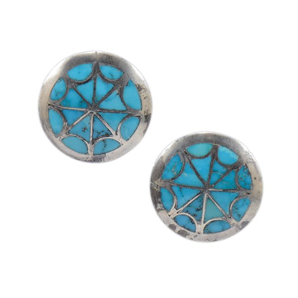 ce812a686 Vintage Zuni Sterling Silver Post Earrings with Natural Turquoise Inlay