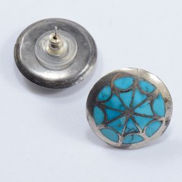Vintage Zuni Sterling Silver Post Earrings with Natural Turquoise Inlay in Webbed Design