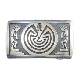 Hopi Sterling Silver Belt Buckle with Silver Overlay Kokopelli and Traditional Symbols