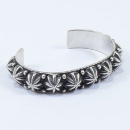 Bonecutter Oxidized Sterling Silver Cuff with Array of Large Traditional Buttons