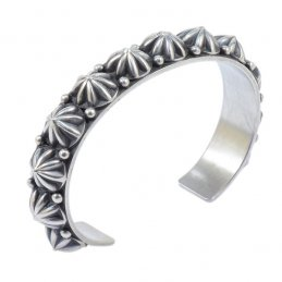 Bonecutter Oxidized Sterling Silver Cuff with Array of Large Traditional Button, Smaller Size