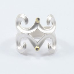 Keri Atuambi Brushed Sterling Silver Ring with 18k Gold Bezel Diamonds