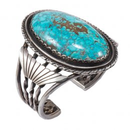 Vintage Navajo Sterling Silver Wide Cuff with Large Cabochon of Villa Grove Turquoise