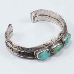 Vintage Navajo Silver Heavy Weight Triangular Wire Cuff with Natural Turquoise Trade Beads
