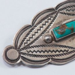 Vintage Navajo Silver Manta Pin with Natural Turquoise Stone and Classic Stampwork