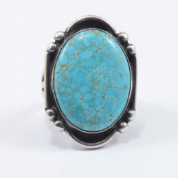 Vintage Navajo Silver Ring with Natural Turquoise Stone and Elegant Silverwork