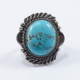 Vintage Navajo Silver Ring with Natural Turquoise Stone Framed with Delicate Twisted Wire
