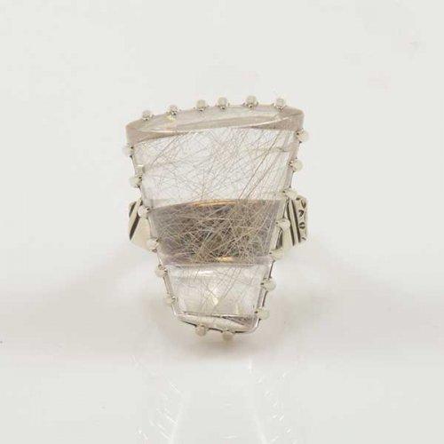 Jared Chavez XL Rutilated Quartz Silver Statement Ring