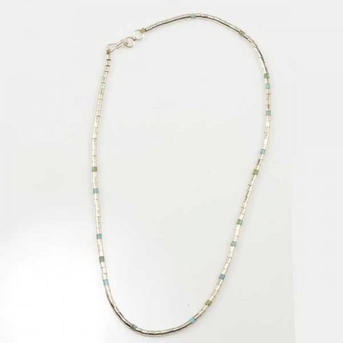 Nick & Me-Wee Rosetta Silver & Turquoise Heishi Necklace
