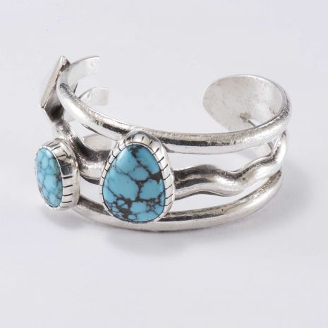 Carol Krena Sterling Silver Cuff with Morenci Turquoise