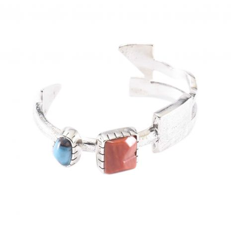 Carol Krena Sterling Silver with Bisbee Turquoise & Coral Cuff