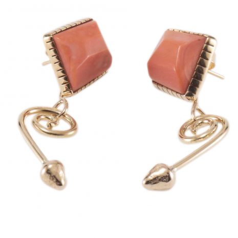 Carol Krena 18K Yellow Gold and Coral Earrings