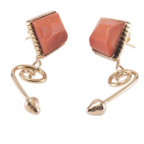 Carol Krena 18K Yellow Gold and Coral Earrings