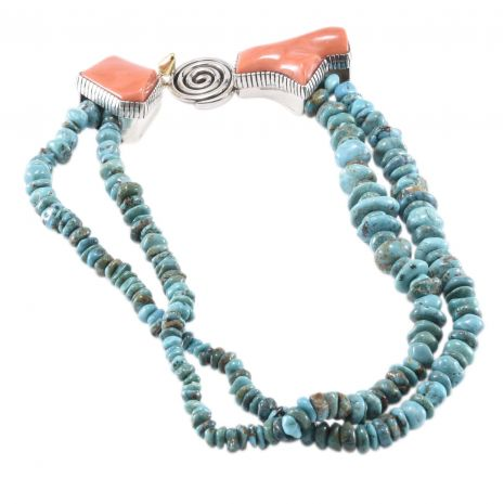 Carol Krena Lone Mountain Turquoise and Pink Coral Necklace