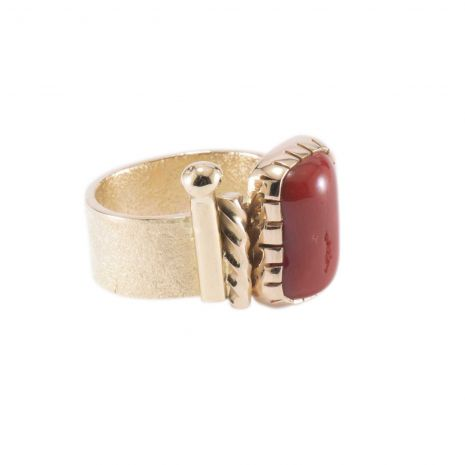 Carol Krena 18K Yellow Gold with Red Coral Ring